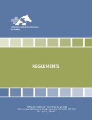 règlements règlements - Ordre des médecins vétérinaires du Québec