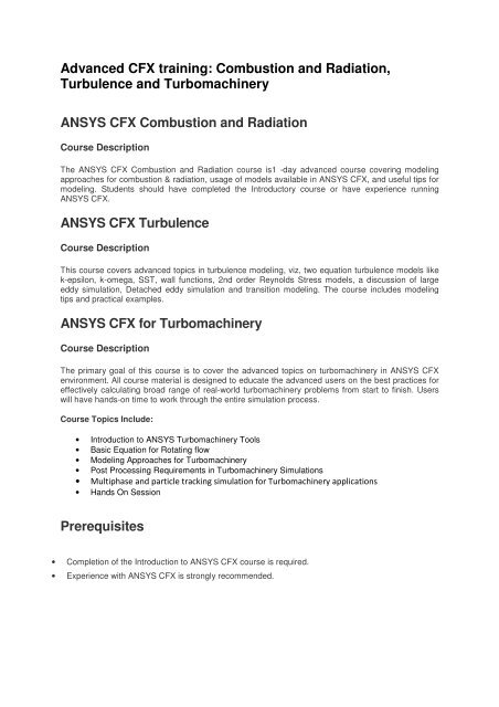 Advanced CFX training: Combustion and Radiation     - Ansys