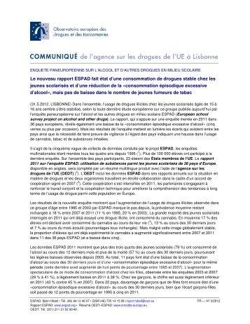 Le nouveau rapport ESPAD fait état d'une consommation de ... - OFDT