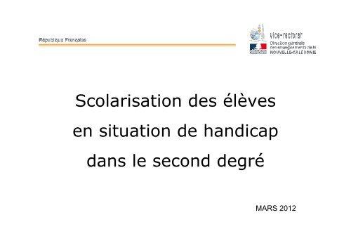 Présentation CEJHNC mars 2012 - Vice-Rectorat de la Nouvelle ...
