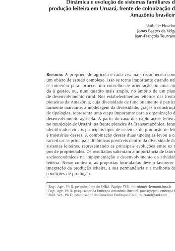 Dinâmica e evolução de sistemas familiares de ... - Ainfo - Embrapa