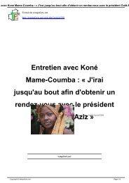 Entretien avec Koné Mame-Coumba : « J'irai jusqu'au ... - Temps Forts