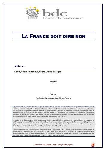 La France doit dire non - Base de connaissance AEGE