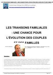 les trahisons familiales : une chance pour l'évolution ... - Systémiques