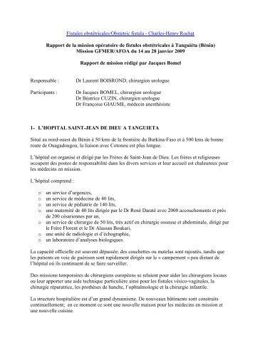 Rapport de la mission opératoire de fistules obstétricales à Tanguiéta