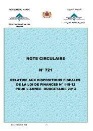 Note Circulaire 721 relative aux dispositions fiscales de la loi de ...
