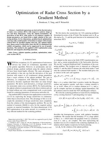Optimization of Radar Cross Section by a Gradient ... - IEEE Xplore