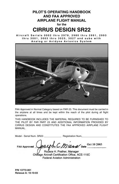 SR22 (Avidyne) POH - Finally, it's all about you