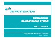 Carige Group Reorganisation Project - Banca Carige