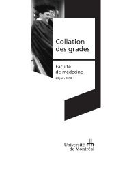 Collation des grades - Faculté de médecine - Université de Montréal