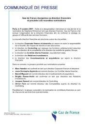 Gaz de France réorganise sa direction financière et ... - GDF Suez