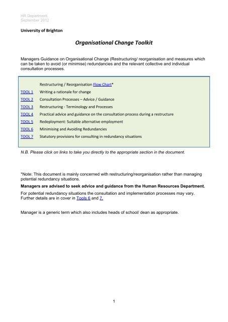 Restructuring/ Reorganisation Flowchart - Staffcentral - University of ...