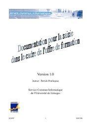 Version 1.0 - Université de Limoges