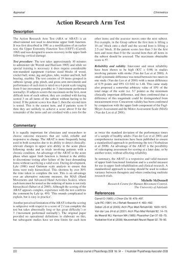Action Research Arm Test - Journal of Physiotherapy - Australian ...