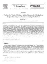 The Level of Faculty Members' Spiritual Leadership (SL) Qualities ...