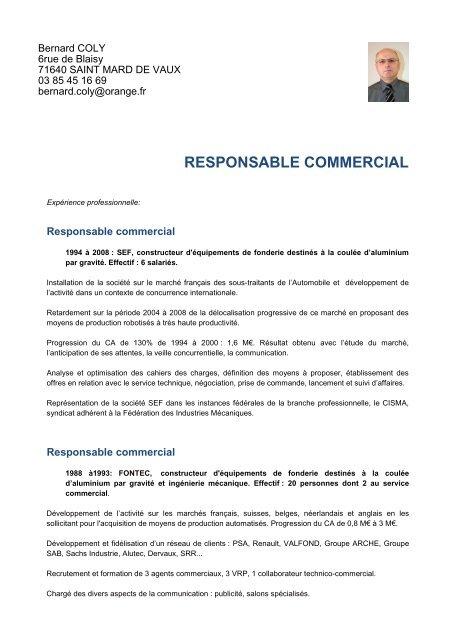 Cv3 Bernard Coly Responsable Commercial Et Impulsion