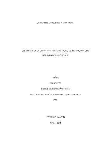Les effets de la contamination d'un milieu de ... - Archipel - UQAM