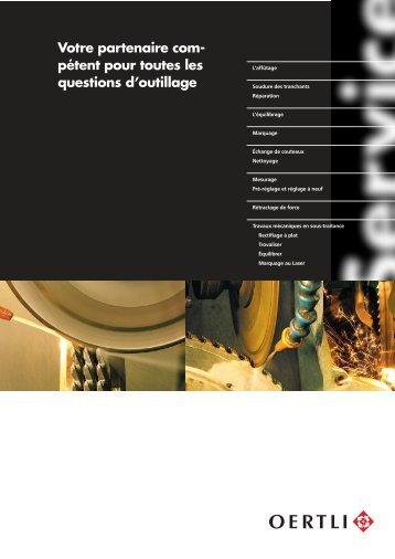 Prospectus d'affûtage - OERTLI Werkzeuge AG