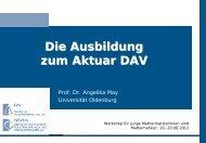 Informationen zur Aktuarausbildung (DAV) - Deutsche ...