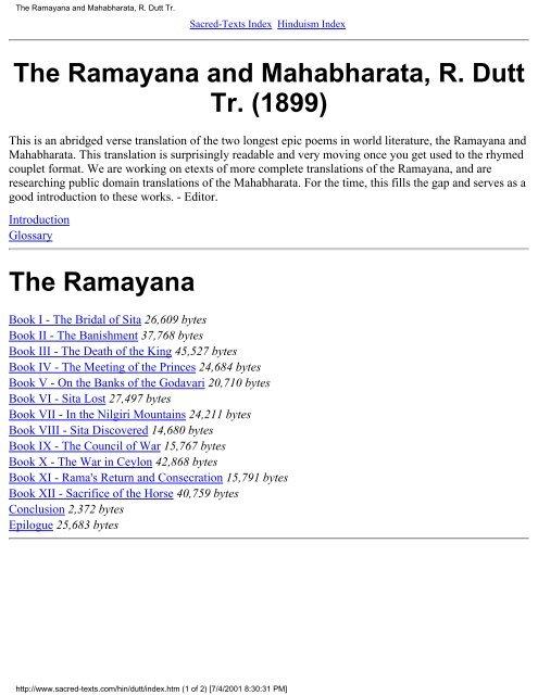 The Ramayana and Mahabharata, R  Dutt Tr  (1899) - Al-Qiyamah