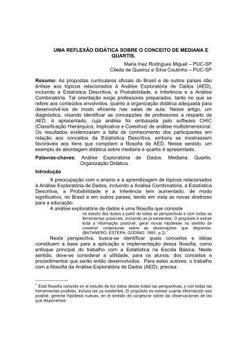 UMA REFLEXÃO DIDÁTICA SOBRE O CONCEITO DE MEDIANA E ...
