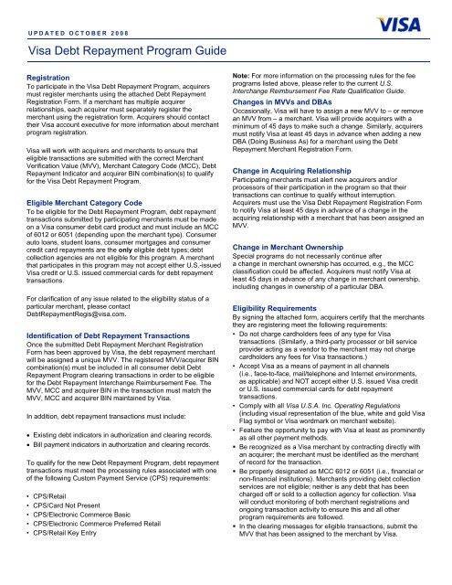 Visa Debt Repayment Program Guide - Bank of America Merchant