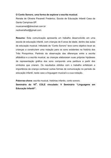 O Conto Sonoro, uma forma de explorar a escrita musical. Renata ...