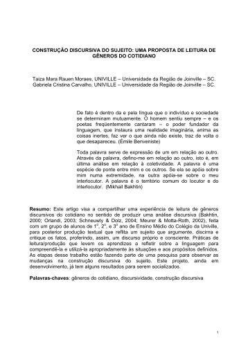 CONSTRUÇÃO DISCURSIVA DO SUJEITO - Associação de Leitura ...
