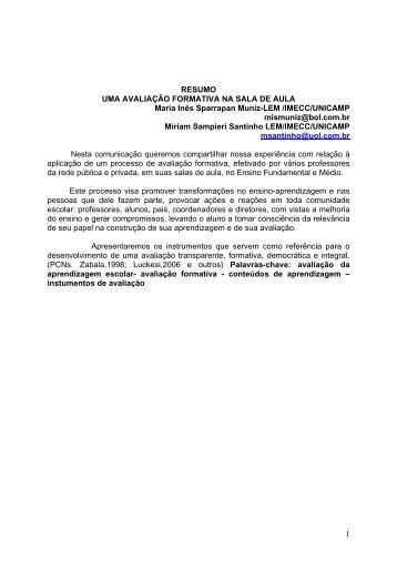 1 RESUMO UMA AVALIAÇÃO FORMATIVA NA SALA DE AULA ...