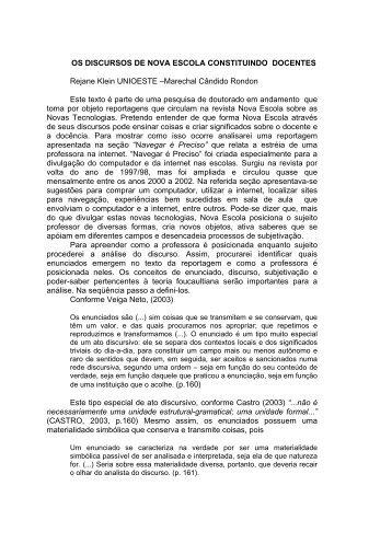 OS DISCURSOS DE NOVA ESCOLA CONSTITUINDO DOCENTES ...