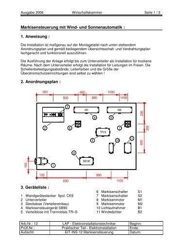 Markisensteuerung mit Wind- und Sonnenautomatik : 1. Anweisung ...