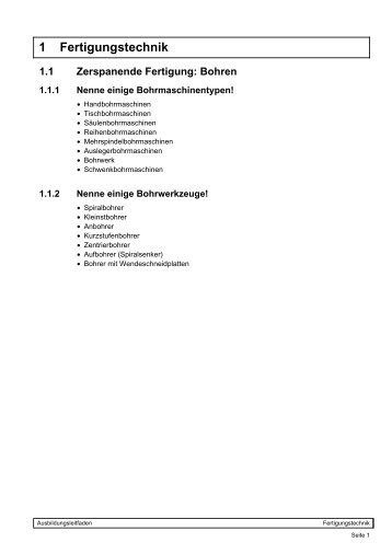 1 Fertigungstechnik - Ausbildungsleitfaden