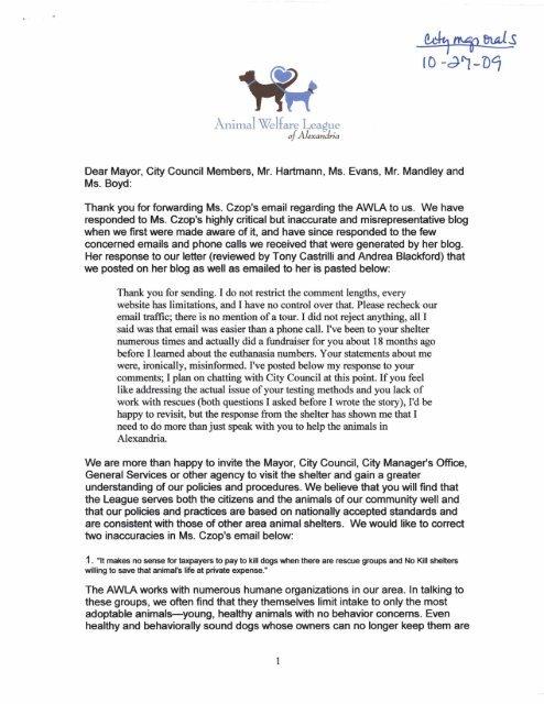 Animal Welfare League Dear Mayor City City Of Alexandria