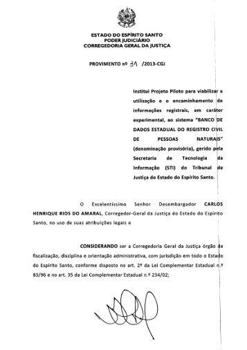 Provimento nº 31-2013 - Corregedoria Geral de Justiça do Estado ...