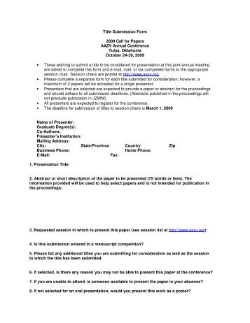 Title Submission Form 2009 Call for Papers AAZV Annual ...