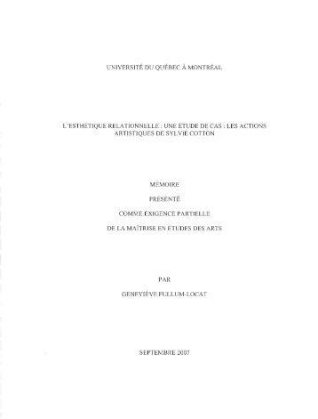 L'esthétique relationnelle : une étude de cas : les ... - Archipel - UQAM