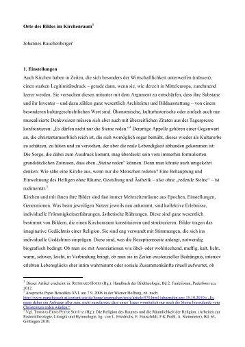 Orte des Bildes im Kirchenraum Johannes Rauchenberger 1 ...