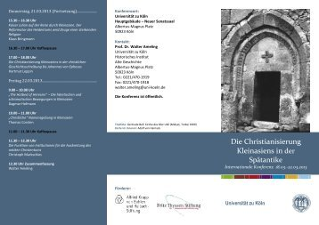 Tagungsprogramm Flyer (pdf) - Alte Geschichte - Universität zu Köln