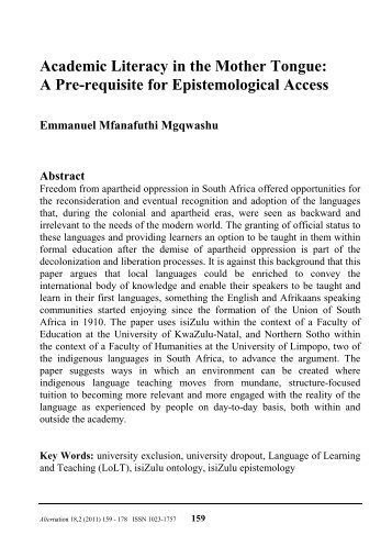 Academic Literacy in the Mother Tongue - Alternation Journal ...