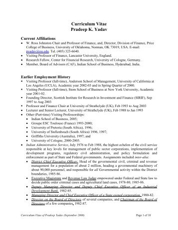 Curriculum Vitae Pradeep K. Yadav - Alumni - University of Oklahoma