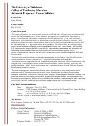 Course Syllabus - Alumni - University of Oklahoma