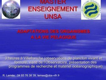 Adaptation des organismes à la vie pélagique - Free