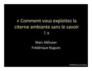 Autour de la citerne ambiante F. Nugues - CHU Grenoble