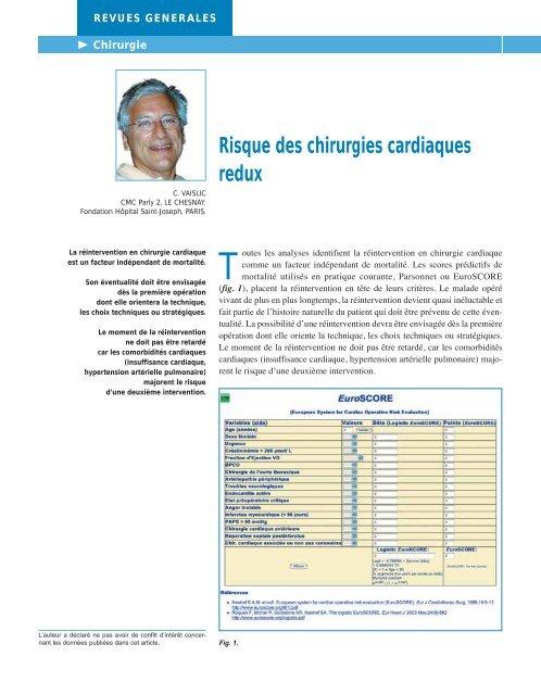 Risque des chirurgies cardiaques redux - Dr Claude Vaislic