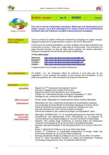 Bulletin ecosan - no. 8 - 05/2003 - - GIZ