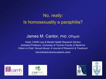 Is homosexuality a paraphilia? - University of Toronto