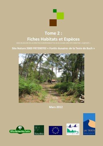 Tome 2 : Fiches Habitats et Espèces - La Teste de Buch