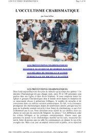 L'OCCULTISME CHARISMATIQUE - Documents bibliques