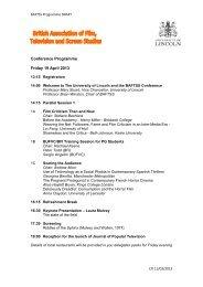 BAFTSS Draft Conference Programme - Amateur Cinema Studies ...