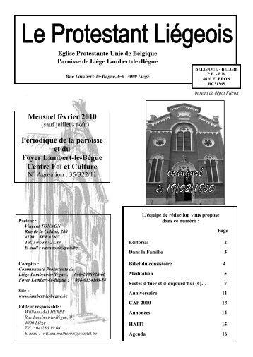 Mensuel février 2010 Périodique de la paroisse ... - Lambert-le-Bègue
